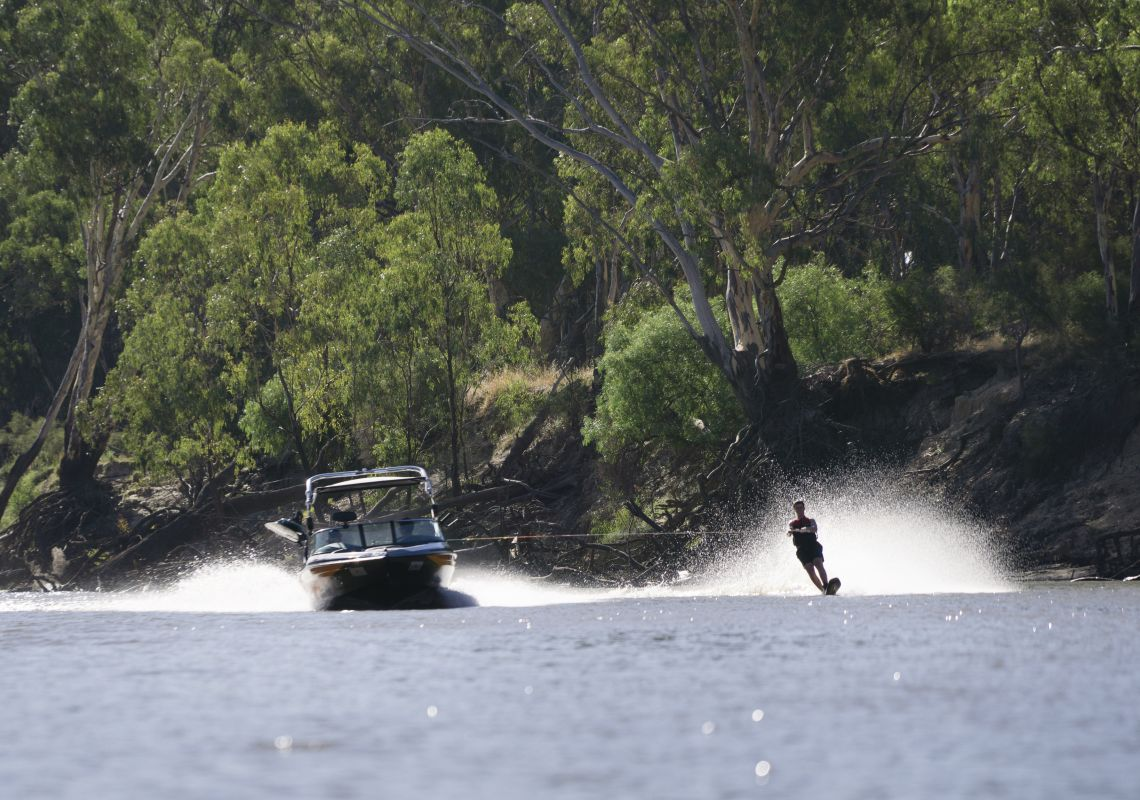 Man water skiing on the Edward River in Deniliquin,The Murray