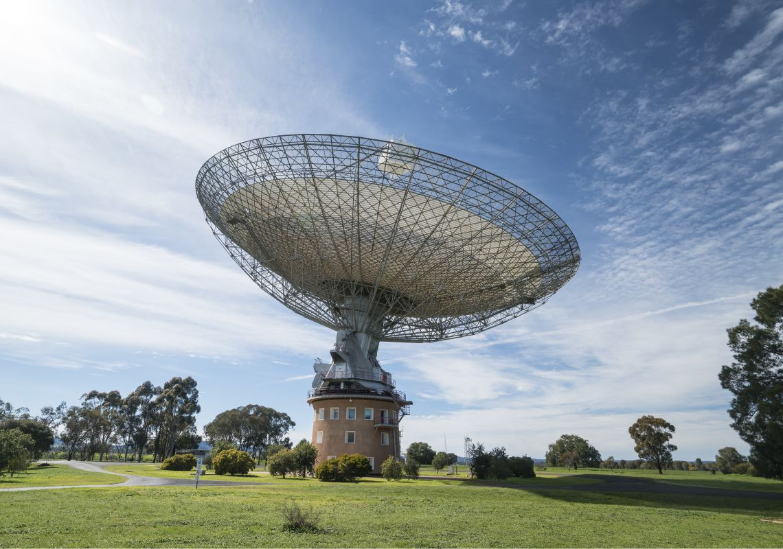 The 64-meter radio telescope residing at Parkes Observatory in Parkes, Country NSW