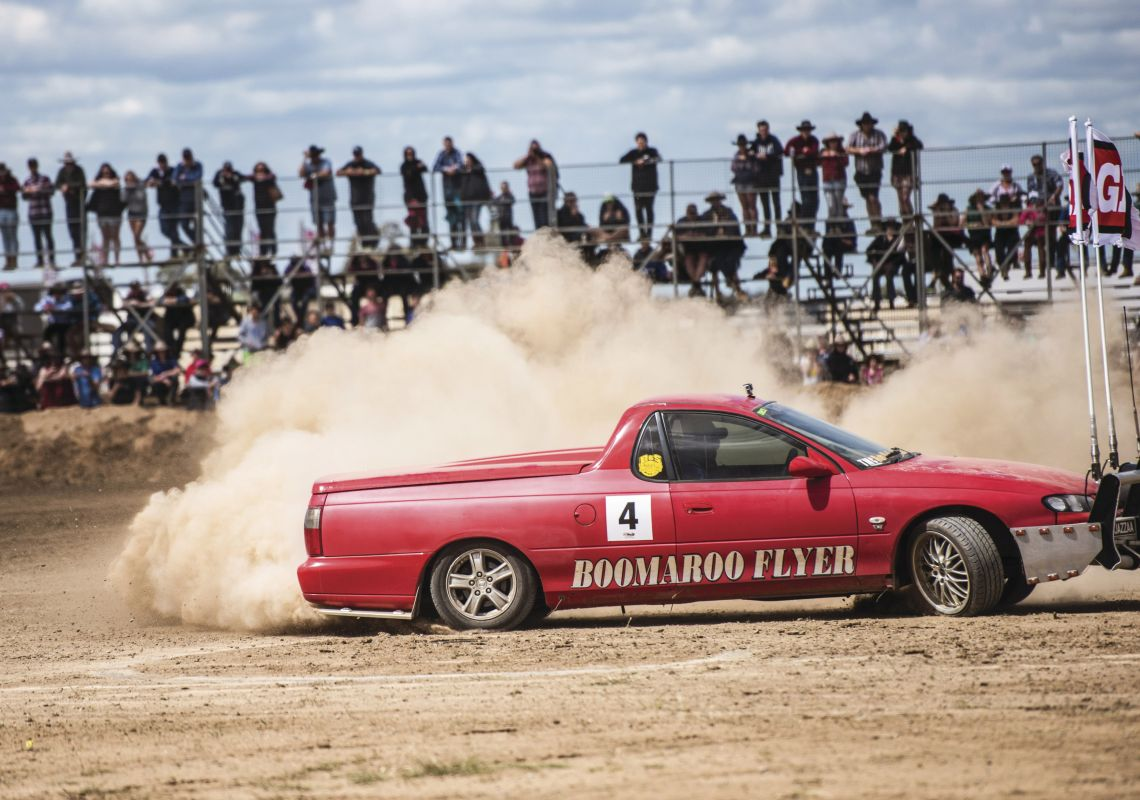 Ute competing in a Deni Ute Muster driving challenge in Deniliquin