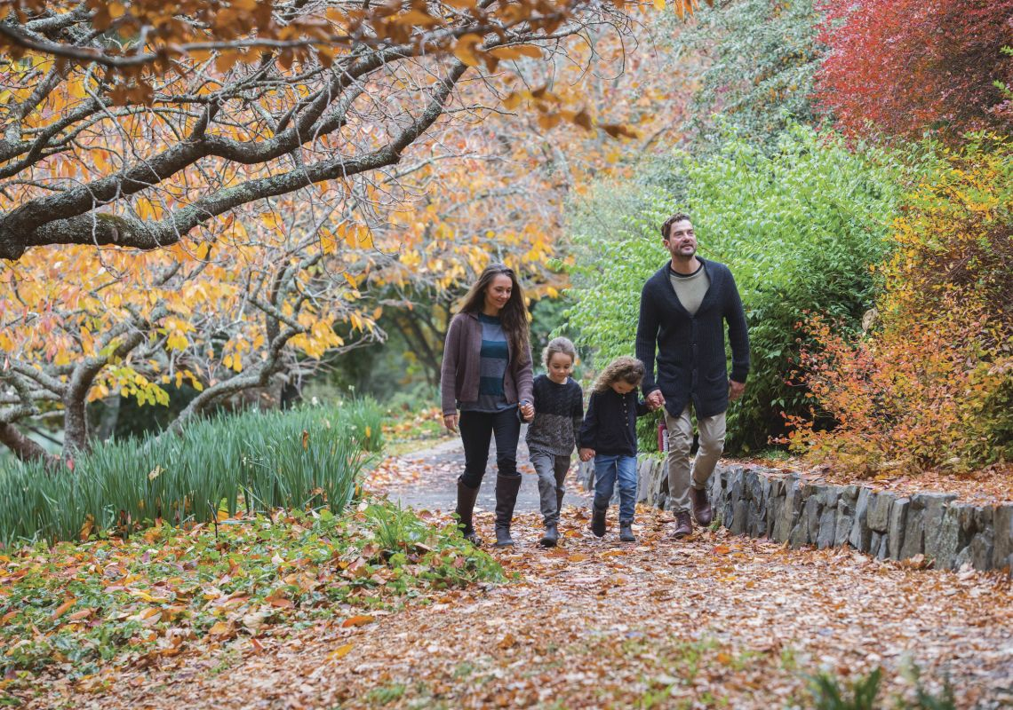 Family enjoying a visit to the Blue Mountains Botanic Garden in Mount Tomah, Blue Mountains