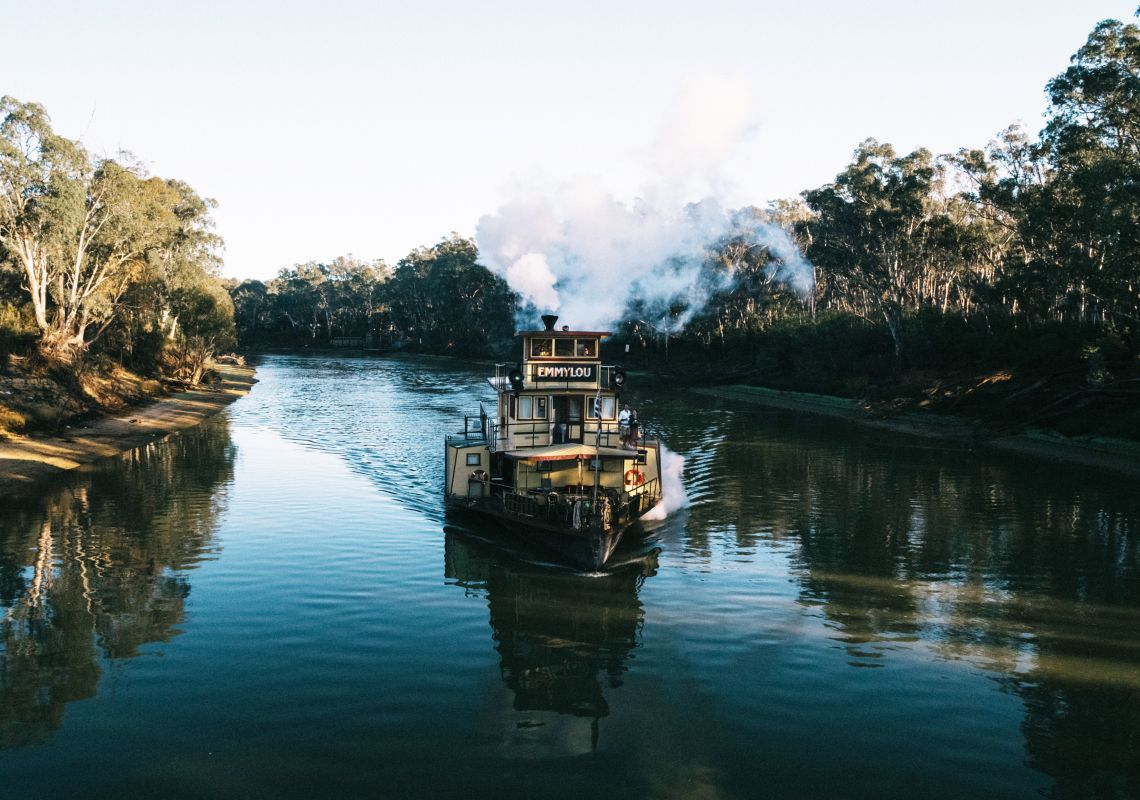 Front view of a paddlesteamer on the Murray River in Echuca, The Murray