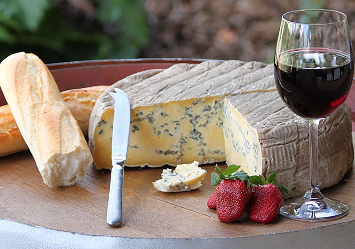 Cheese plate and red wine at Hunter Belle Cheese in Muswellbrook,  Upper Hunter