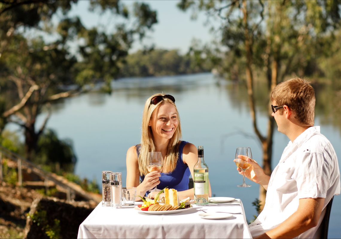 Dining on the riverbank at Trentham Estate Winery Trentham, The Murray