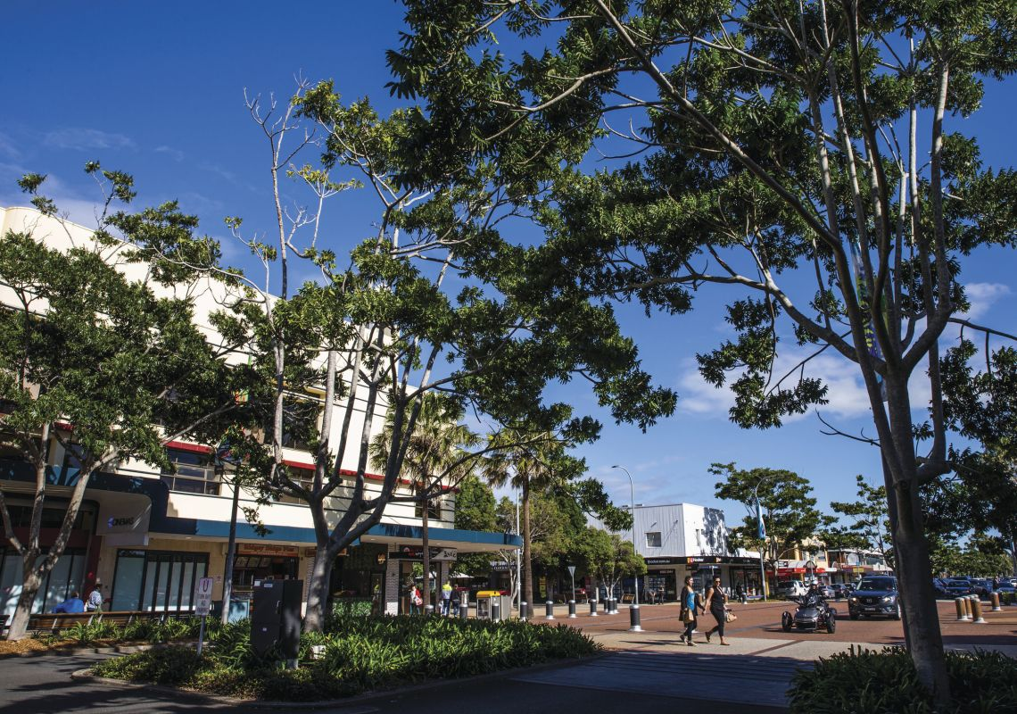 Streetscape of Port Macquarie featuring the Ritz Centre in Port Macquarie, North Coast