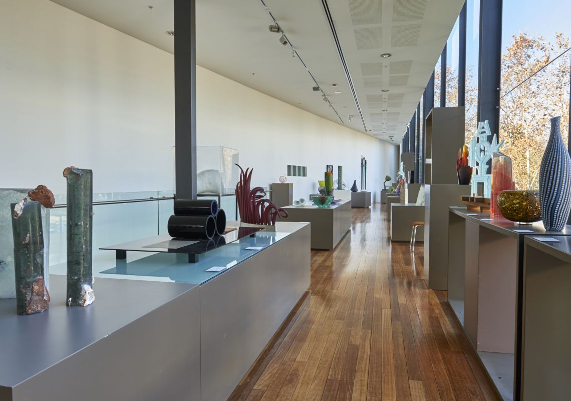 Pieces in the National Art Glass Collecting held at the Wagga Wagga Art Gallery at Wagga Wagga  in Riverina, Country NSW