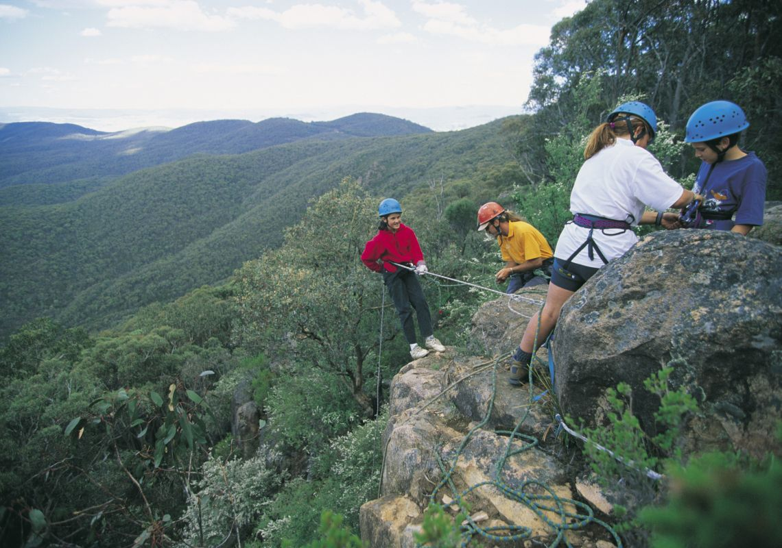Group abseiling, Khancoban in Summer, Snowy Mountains