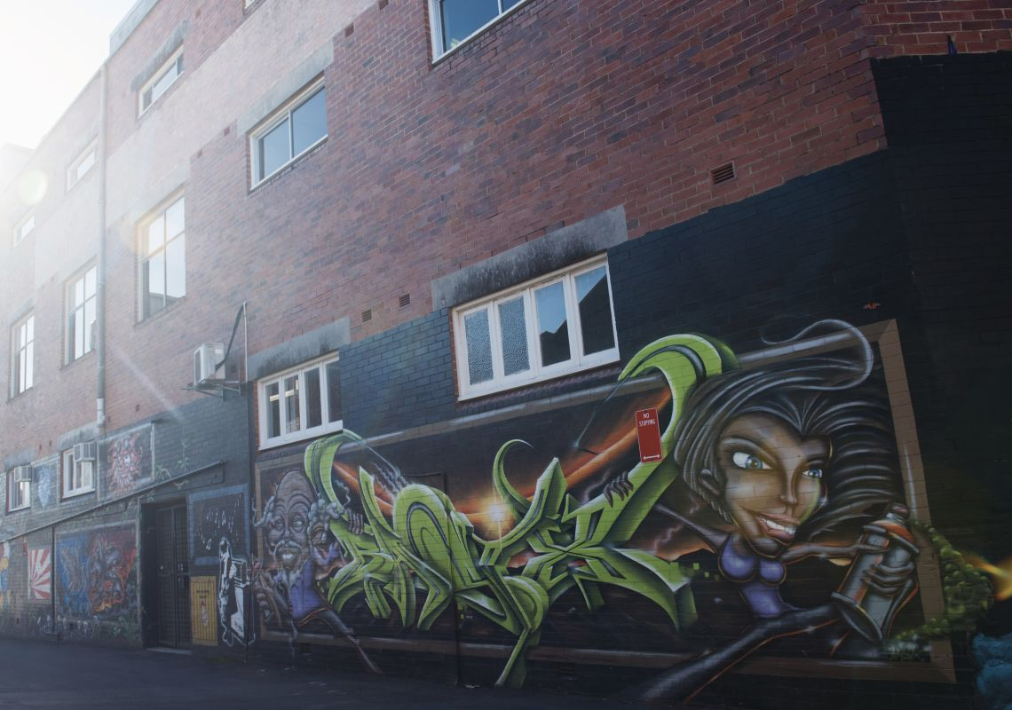 Street art located in the Back Alley Gallery located in Lismore