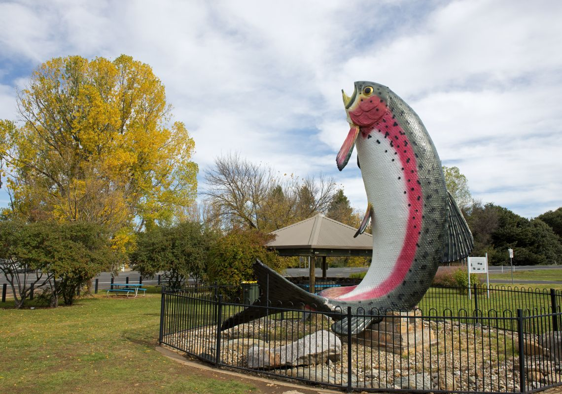 The 10-metre high Big Trout fibreglass structure in Adaminaby...Artist: Andy Lomnici, 1973
