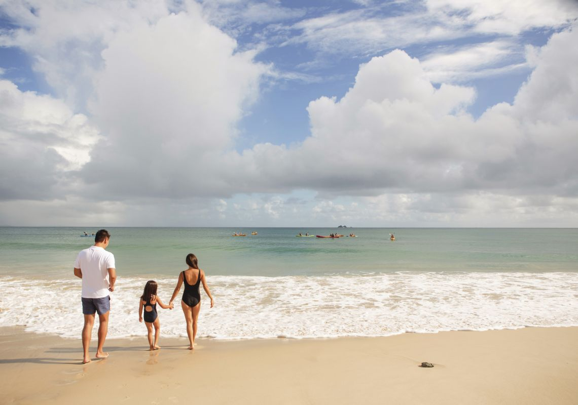 Family enjoying a day at Clarkes Beach in Byron Bay, North Coast