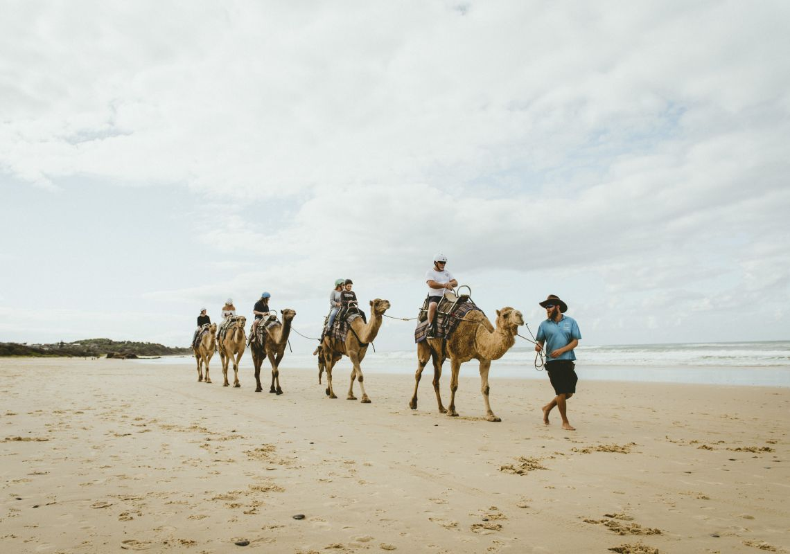 Family enjoying a guided experience with Port Macquarie Camel Safaris