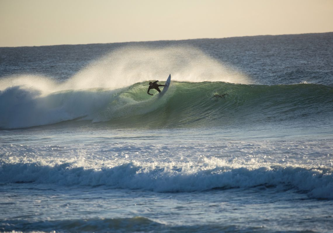 Surfer catches a morning wave at Duranbah Beach, Tweed Heads