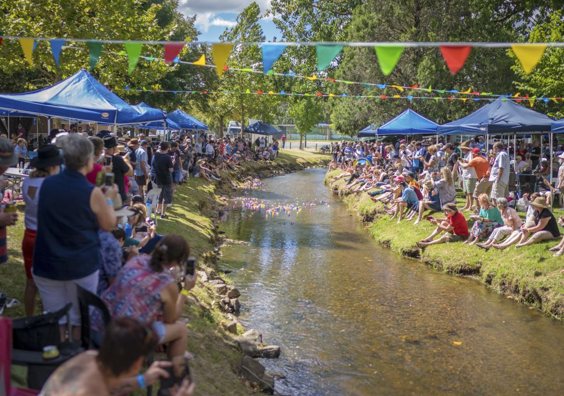 Crowds enjoying a day out at the 2018 Tumbafest event in Tumbarumba, Snowy Mountains