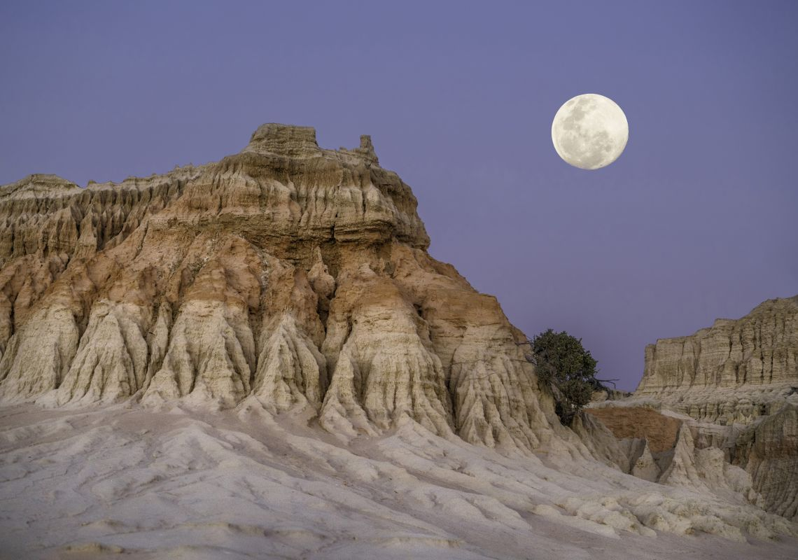 Moon rising over the Walls of China in World Heritage Mungo National Park , Outback NSW