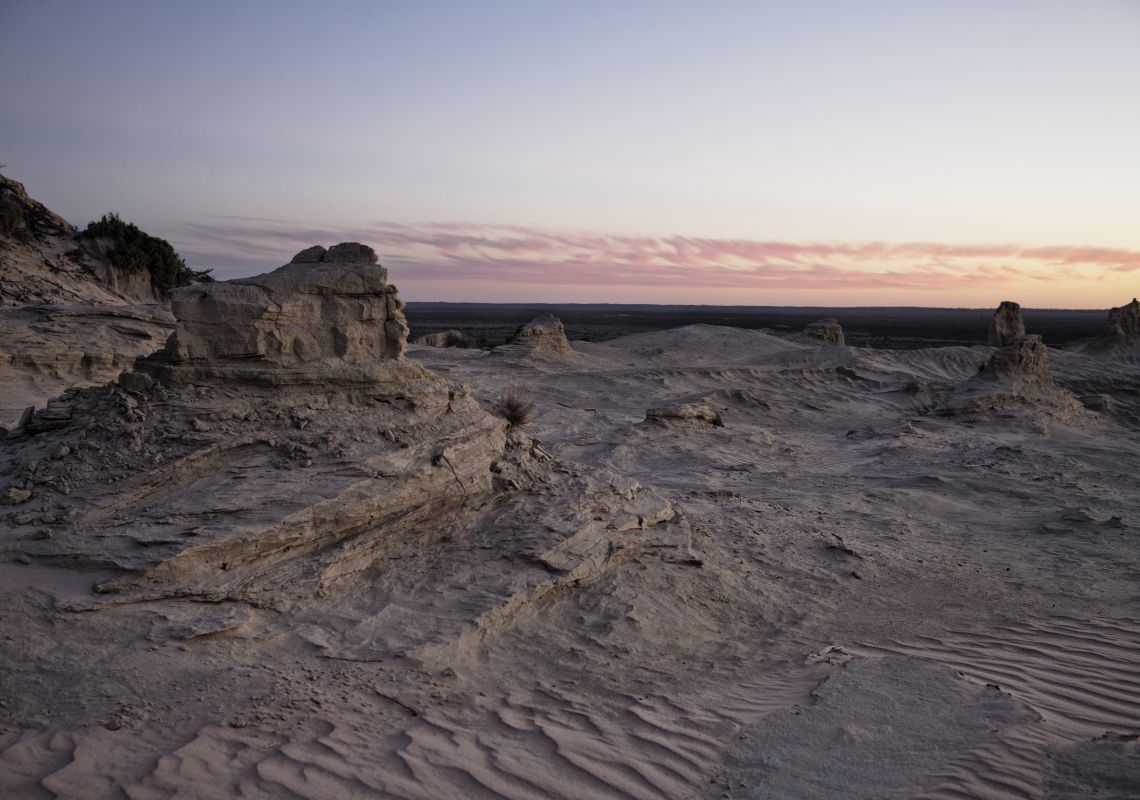 A scenic sand formation (lunette) in the UNESCO World Heritage at Mungo National Park, Outback NSW