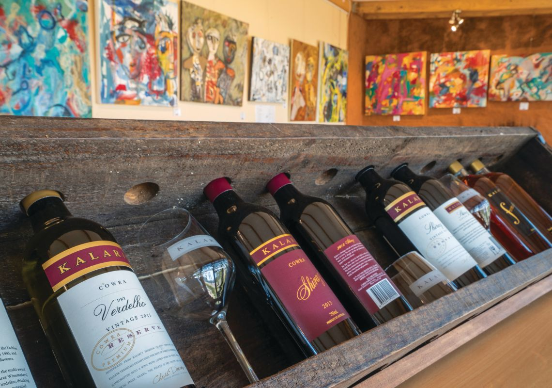 Range of wines produced at Kalari Cellar Door & Art Gallery in Cowra, Country NSW
