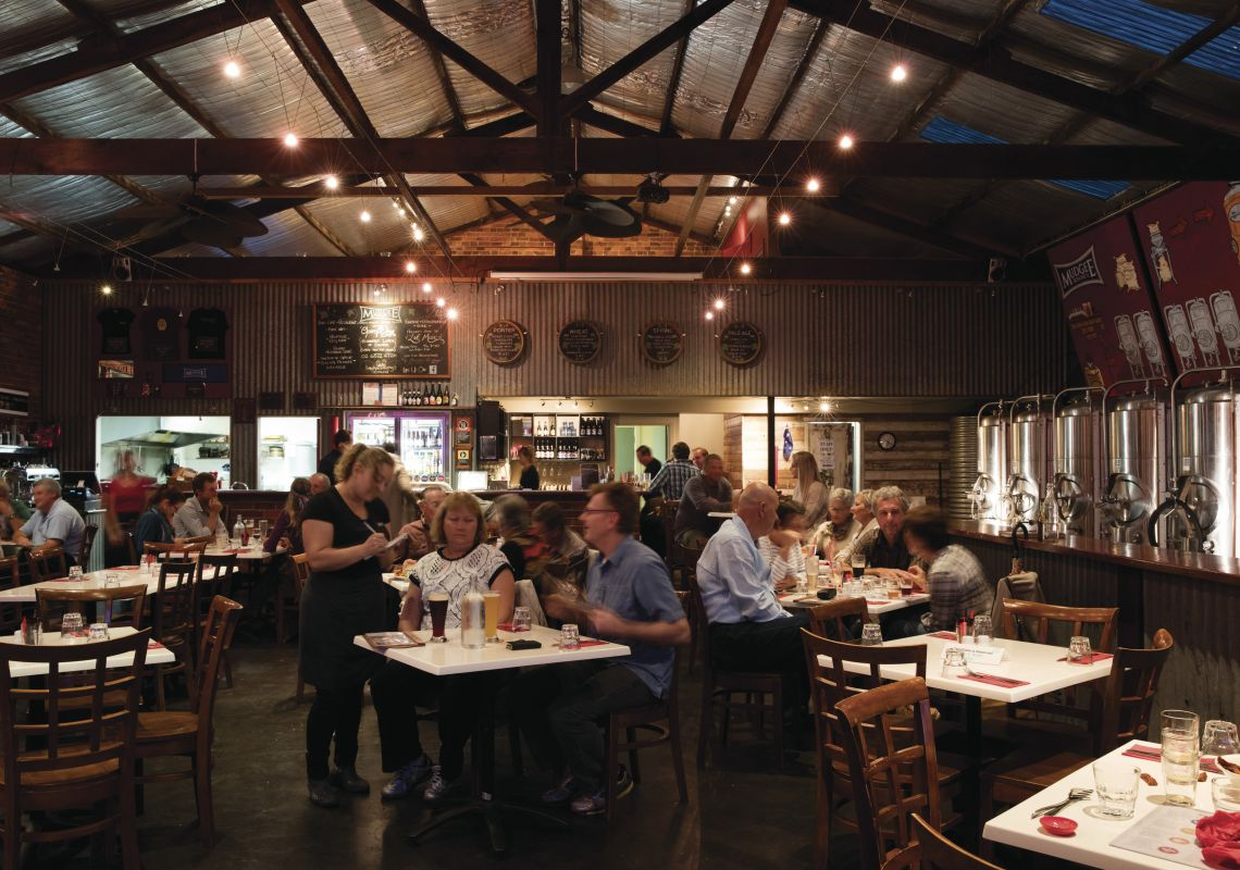 Diners enjoying an evening of food and drink at Mudgee Brewing Co. in Mudgee, Country NSW