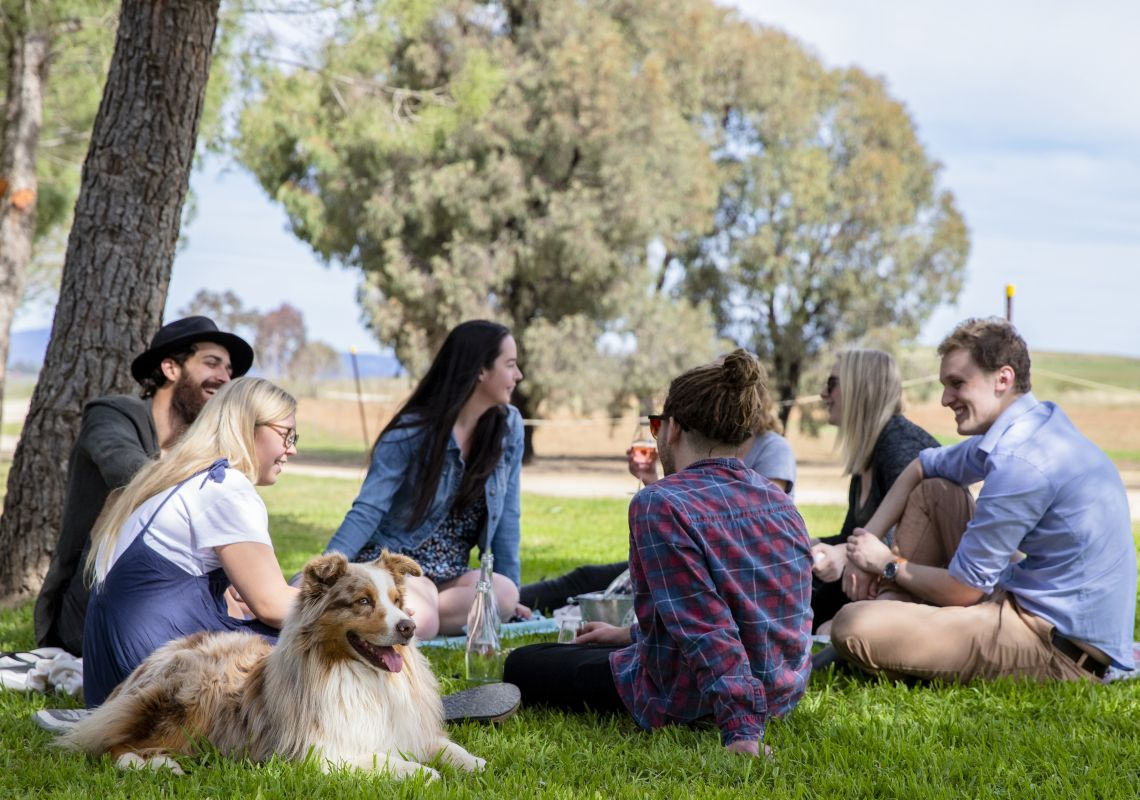 Friends enjoying a picnic at Lowe Wines in Mudgee, Country NSW