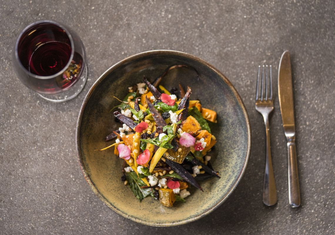 Salad and wine available at Bendooley Estate, Berrima in the Southern Highlands.