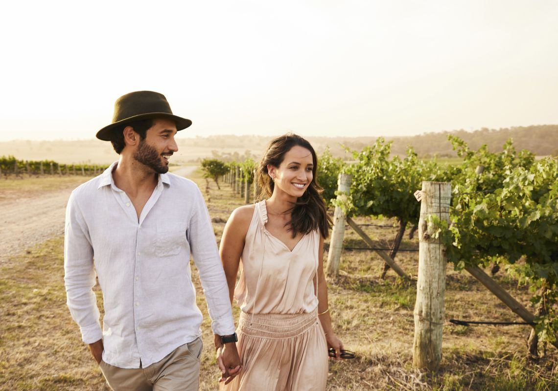 Couple enjoying a visit to De Beaurepaire Wines in Rylstone, Mudgee