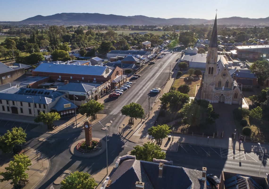 Aerial overlooking the town of Mudgee.