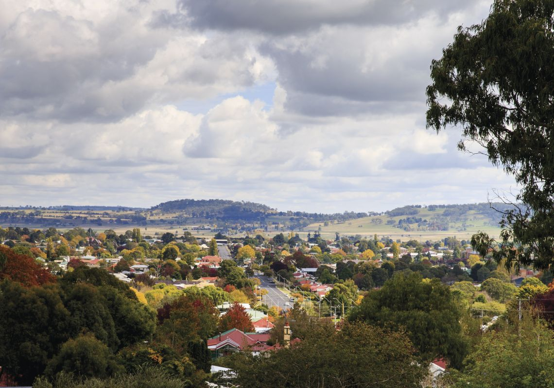 Elevated view overlooking the town of Glen Innes, Country NSW