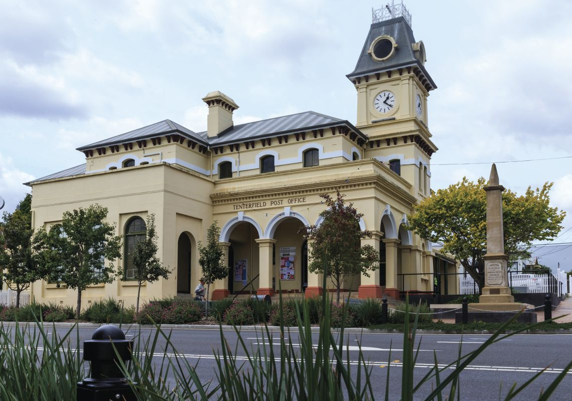 Street view of the Tenterfield Post Office in Tenterfield, Glen Innes and Inverell area