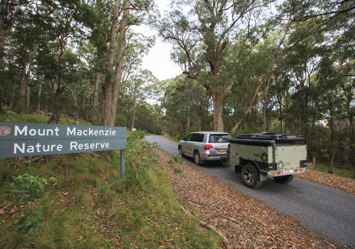 Four-wheel drive and trailer entering Mount Mackenzie Nature Reserve