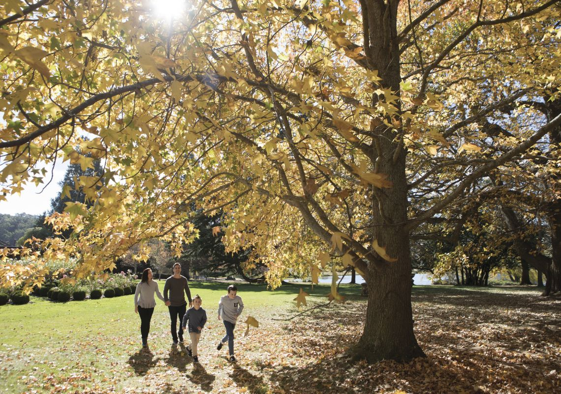 Family enjoying a walk around Bendooley Estate, Berrima in the Southern Highlands