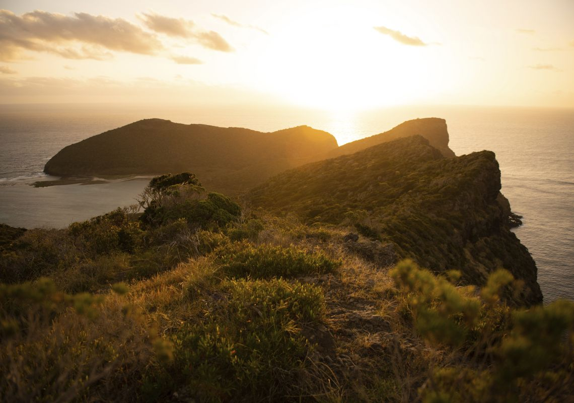 Sun setting over the North Head of Lord Howe Island