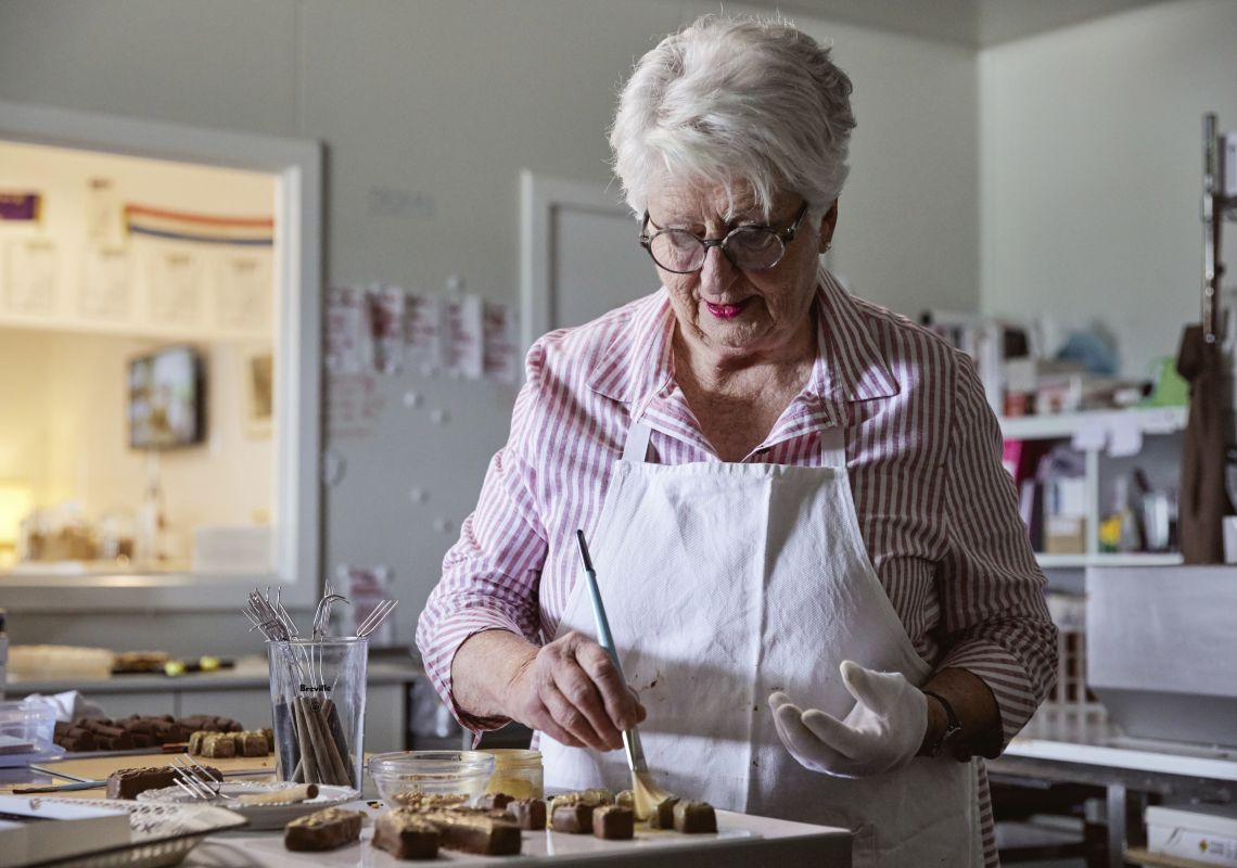 Owner and chocolatier Robyn Rowe of Robyn Rowe Chocolates in her store in Murrumbateman, Yass Area