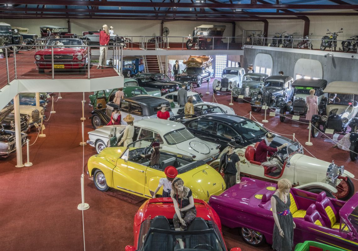 Vintage cars on display at the McFeeters Motor Museum in Forbes, The Parkes