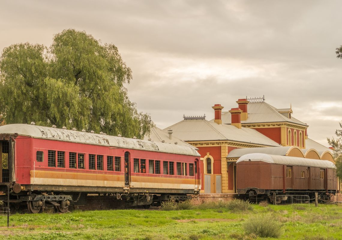 Historic train carriages in the Dunera Museum located at Hay Railway Station in Hay, Reverina
