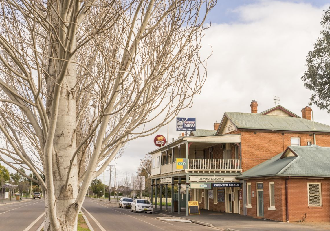 Streetscape of High Street in Hillston, Reverina