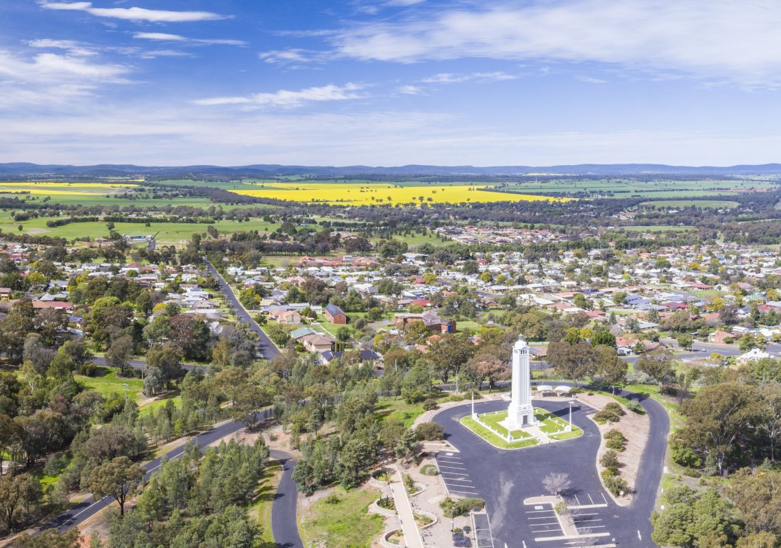 Aerial capturing the Parkes township with views across to the canola fields, Parkes