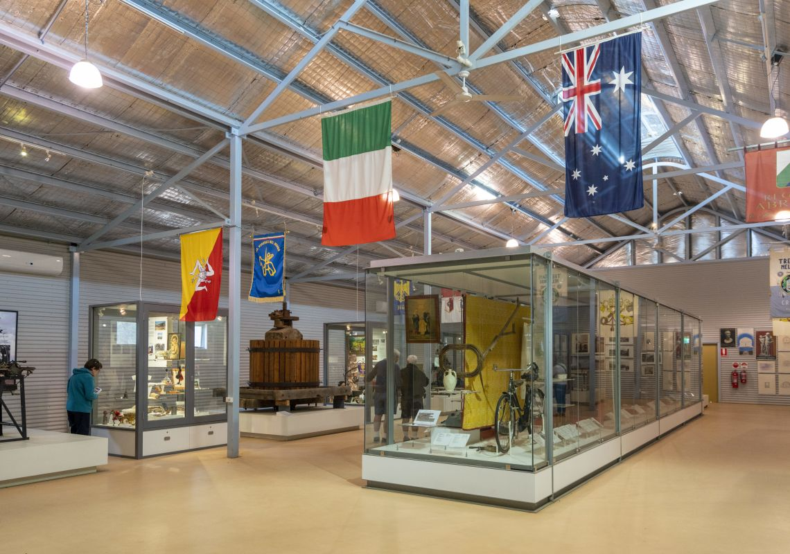 The Italian Museum, located inside the Griffith Pioneer Park Museum, acknowledges the significant contribution of the Italian community in Griffith, Reverina