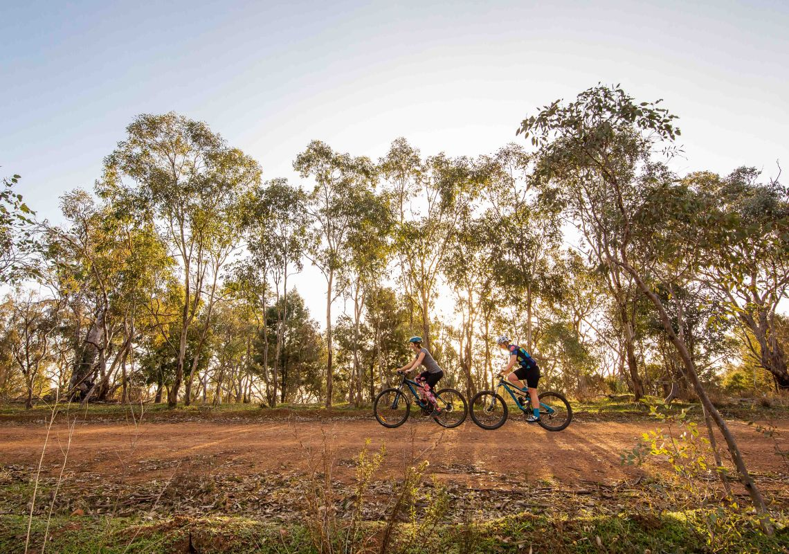 Cycling at Pomingalarna Reserve in Wagga Wagga, Riverina