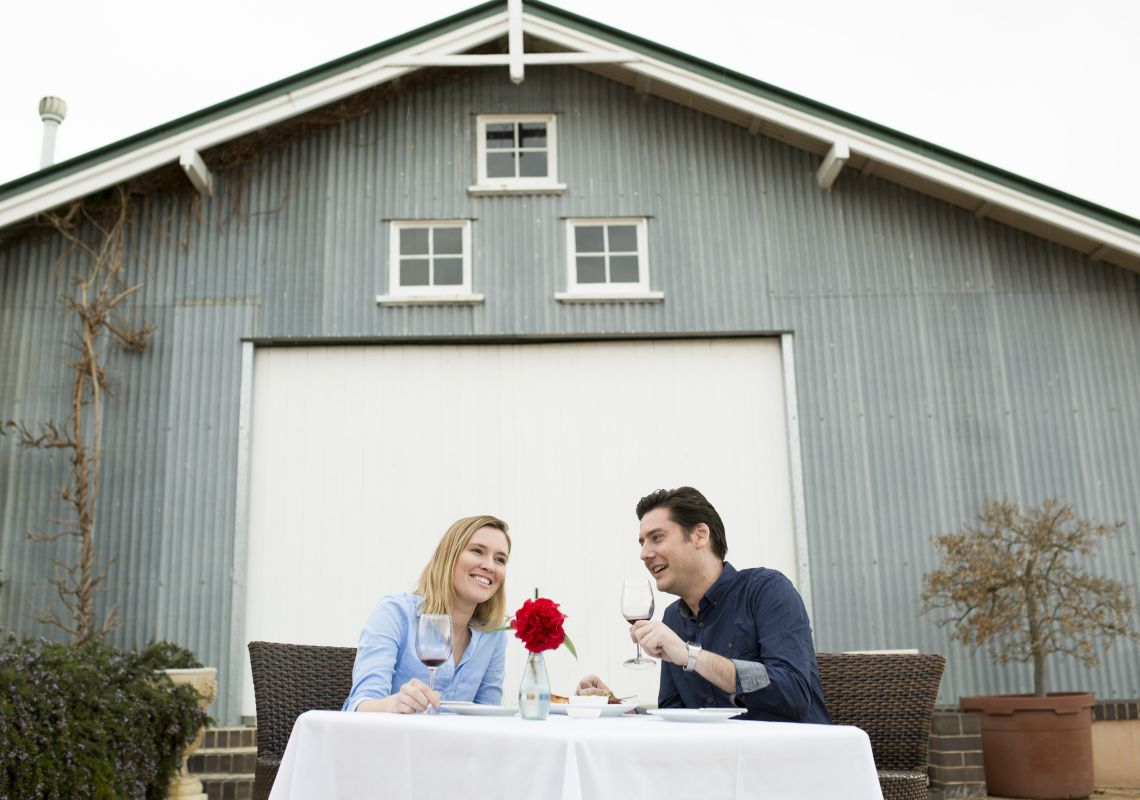 Couple dining at Merilba Estate Wines restaurant in Uralla , Tamworth Area