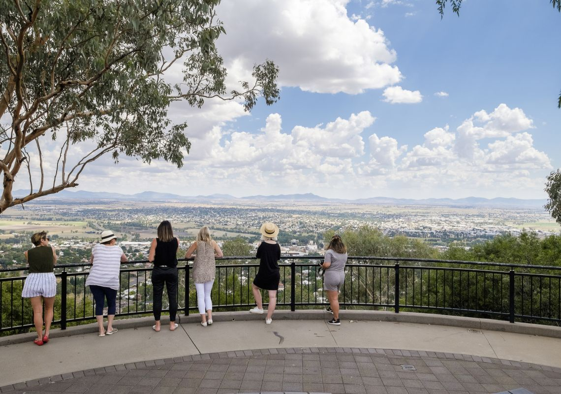 People enjoying the views overlooking Tamworth from the Oxley Scenic Lookout