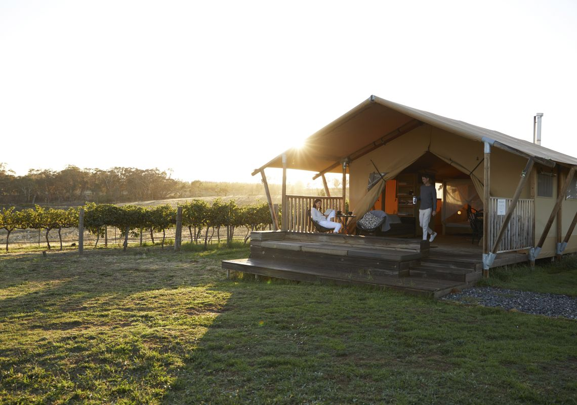 Couple enjoying a glamping experience at Nashdale Lane Wines in Nashdale, Country NSW