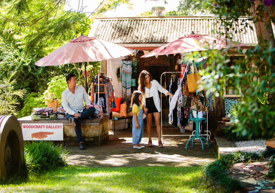 Family shopping at the local markets in Bellingen on the North Coast