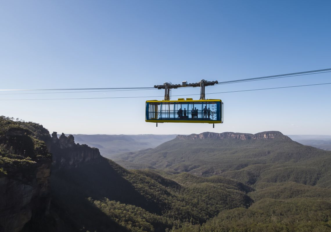 The Scenic Skyway cabin passes over the Jamison Valley, Katoomba in the Blue Mountains