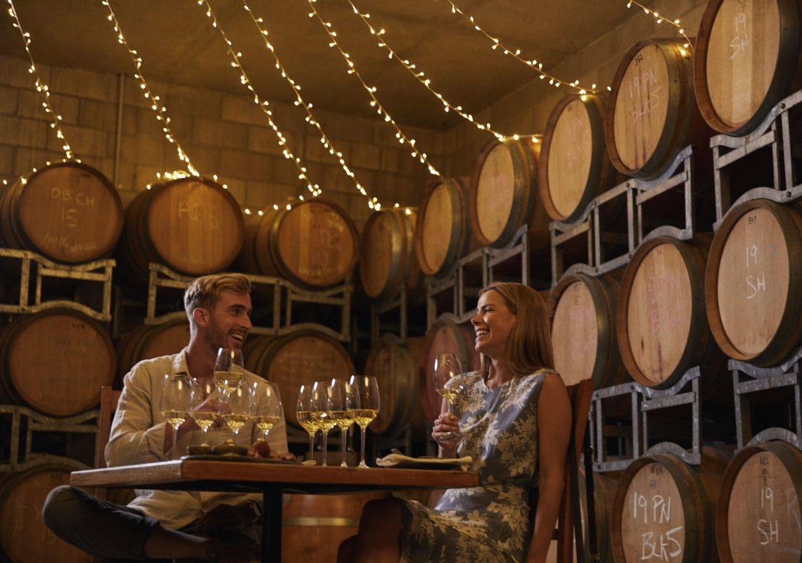Couple enjoying a wine tasting experience at The Contentious Character, Wamboin
