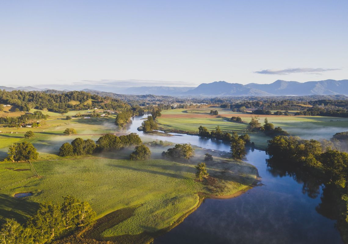 Scenic aerial overlooking the Bellingen River on the Mid North Coast