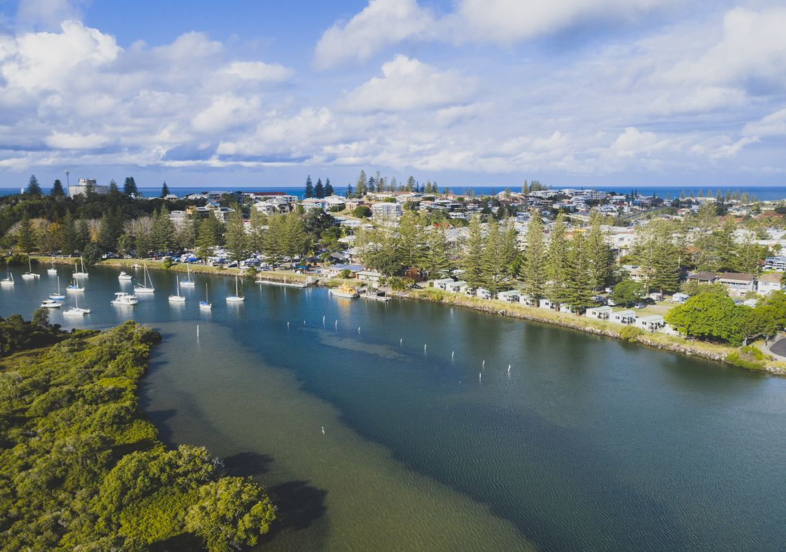 Aerial overlooking Calypso Holiday Park and the scenic Clarence River, Yamba