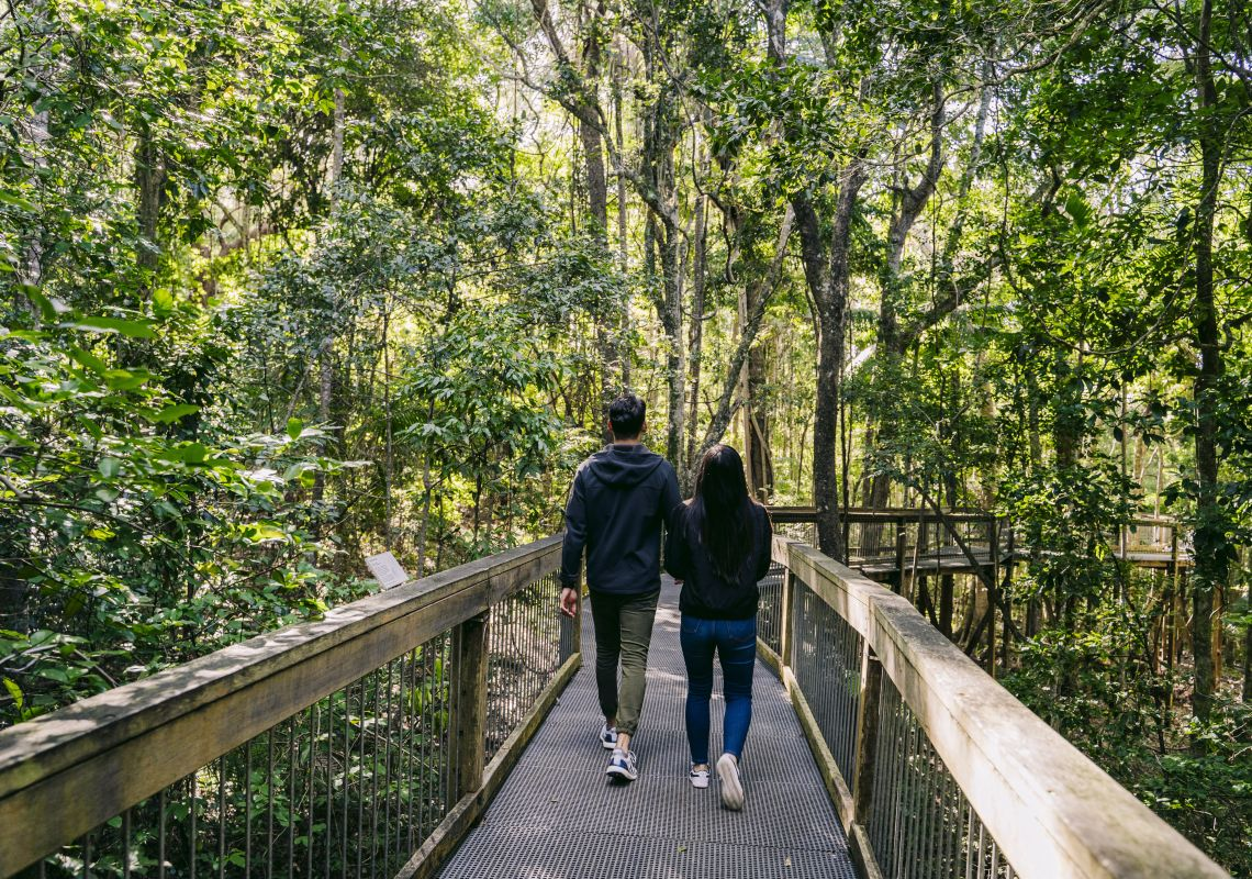 Couple enjoying a visit to the Sea Acres Rainforest Centre, Port Macquarie, North Coast