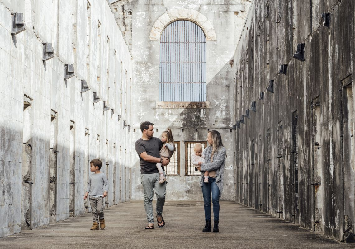 Family enjoying a visit to the historic ruins of Trial Bay Gaol, South West Rocks, North Coast