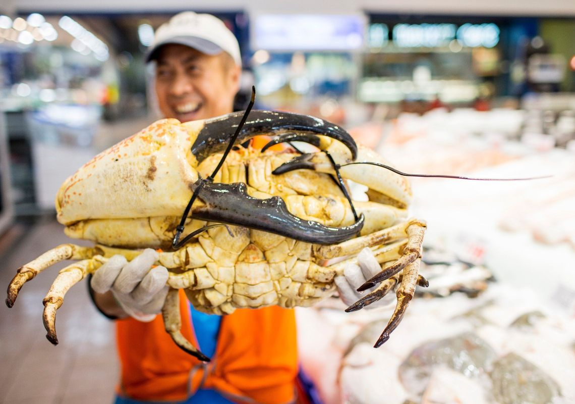 Fishmonger holding a giant King Crab at Sydney Fish Market. Image Credit: Sydney Fish Market