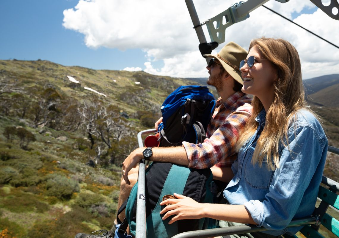 Scenic Chairlift Ride at Thredbo in Kosciuszko National Park, Snowy Mountains