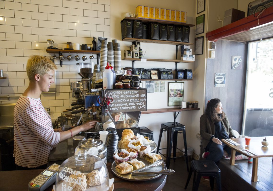 Barista and customer at Anonymous Cafe in Blackheath, Katoomba Area, Blue Mountains