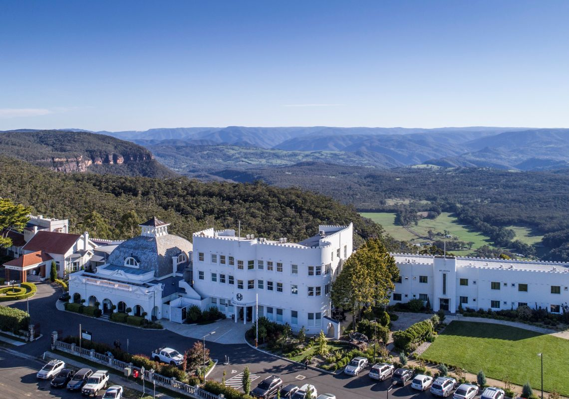 Aerial view of the Hydro Majestic Hotel, Medlow Bath and Megalong Valley in the Blue Mountains